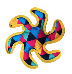 Paisley Paws Fabric Colourful Starfish Shaped Puppy Dog Squeaky Toy
