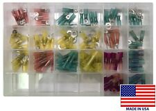 115 Heat Shrink Amp Crimp Electrical Wire Terminal Connector Assortment Kit Usa