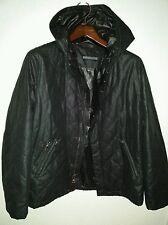 Men's John Varvatos Black quilted coat Jacket with hood. Size 54