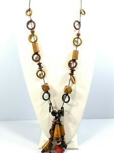 Artisan  Brown Wood Tassel Red Bead Black Cord Tribal Style Necklace 32 Inches