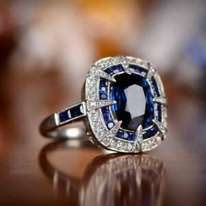 2Ct Cushion Cut Blue Sapphire/Diamond Halo Engagement Ring 14K White Gold Finish