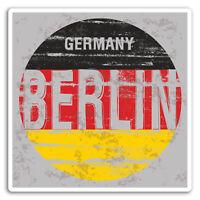 2 x 10cm Berlin Germany Flag EU Vinyl Stickers - Sticker Luggage Travel #19280