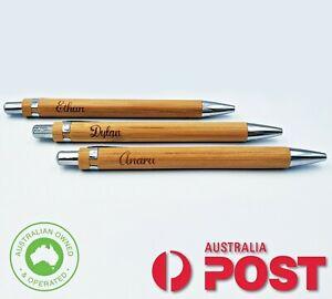Personalised Custom Engraved Bamboo Eco Pen | Black Ink | Aus Stock