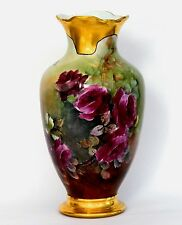 """New listing 14.5"""" Limoges France Hand Painted Roses Vase"""