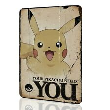 """Wall Sign """"Pokemon"""" Your Pikachu Needs You Tin Art Vintage Special Poster Rusted"""