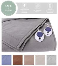 Soft Heat Luxury Micro-Fleece Low-Voltage Electric Heated Blanket King Grey