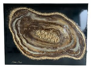 3D Geode Resin Wall Art ~ Large Box Canvas ~ Gold Leaf