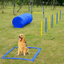 Backyard Dog Agility Training Kit Obstacle Course Equipment Jumps Tunnel@