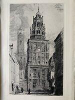 Arthur Mayeur Gravure Eau Forte Etching Le Beffroi Et Le Vieux Calais 1900