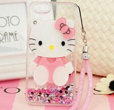 Cute Hello Kitty Mirror Bling Flowing Liquid Love Glitter Soft Strap Case Cover