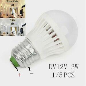 1/5PCS LED Bulbs E27 3W 5730 Lamps Warm White/White Home Camping Hunting DC 12V