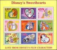 Palau 1996 Disney/Films/Lions/Cats/Dogs/Foxes/Rabbits/Love/Hearts 9v sht d00234q
