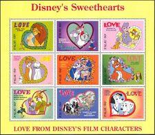 Palau 1996 Disney/films/Lions/Chats/Chiens/Renards/lapins/love/coeurs 9 V SHT d00234q