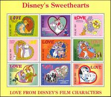 Palau 1996 Disney/film/Lions/cats/dogs/Foxes/LAPIN/LOVE/Hearts 9 V SHT d00234q
