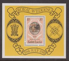 1981 Royal Wedding Charles & Diana MNH Stamp Sheet St Lucia SG MS579