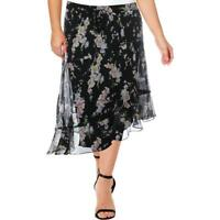 Ralph Lauren Tierney Asymmetrical Floral Peasant Boho Chiffon Skirt 16W 16 New