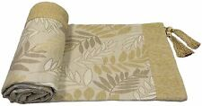 LEAVES LEAF CREAM BEIGE CHENILLE JACQUARD TASSELLED THROW BLANKET 145X180CM