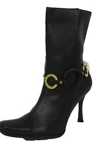 Women Gold Chain Boot Bracelet Anklet Shoe Charm Black Round Rings Bling Jewelry