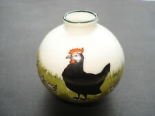 CWW1 VINTAGE SWAN CHINA MINIATURE POT WITH PICTURE OF A BLACK COCKEREL&CHICKS