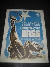 REPRODUCCION CARTEL GUERRA CIVIL ESPAÑOLA. HOMENAJE A LA URSS. XX ANIVERSARIO