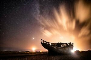 Fishing Boat and Milky Way Glow, Dungeness - Dirk Seyfried Photography