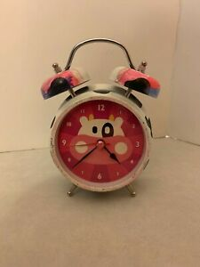 """Mooing Cow Alarm Clock - Pink White and Black - """"Moo"""" Alarm Sound - Decorated"""