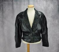 Maggie Lawrence Womens Vintage Leather Printed Accents Jacket Size Medium Black