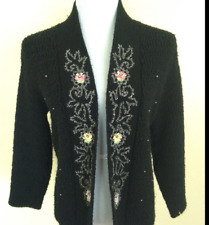 Vtg Cynthia of Hollywood Open Front Sweater Black Floral Rhinestone Mid Century