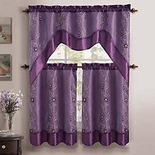 VCNY Daphne Tier & Valance 3 Piece Kitchen Curtain Set - Purple