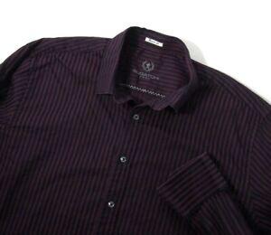 Bugatchi Uomo Mens Shirt XL Collared Long Sleeve Button Purple Navy Blue Striped