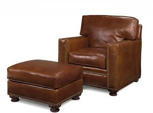 ACCENT CHAIR OCCASIONAL TRADITIONAL ANTIQUE LEATHER TABACCO REMOVABLE LEG