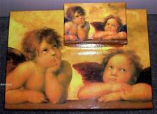 9 x Stackable Gift Box Set with Lid - Two Angels - Storage Xmas Nesting Present
