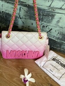 Authentic  Moschino Ombre Quilted Pink Chain  Flap Bag🌺