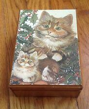 Vintage Wood Christmas Music Box Cat Kitten June Payne Willitts Silver Bells