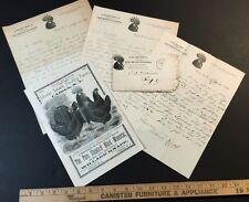 RARE Black Minorca Chicken Dealer Catalog Letters & Cover 1890 Knapp Fabius NY