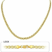 "4.00mm 30"" 22.90gm Solid 14k Gold Two Tone Men's Concave Mariner Chain Necklace"