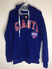 NFL NY Giants Football Zip Up Hooded Hoodie Sweater Blue Jacket Sz XL