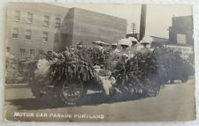 RPPC MOTOR CAR PARADE PORTLAND OREGON ANTIQUE REAL PHOTO POSTCARD flowers