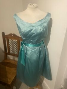 STUNNING VINTAGE 50's AQUA GREEN  EVENING FULL SKIRT TEA DRESS UK 8 SMALL
