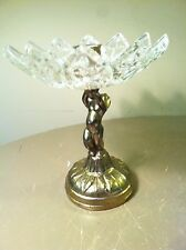 Vintage Brass & Glass Cigar Ashtray Nude Cherub Base Pedestal-Hollywood Regency