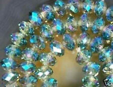 FREE P&P 20 ROUND SWAROVSKI CALADON BLUE CRYSTAL GEMSTONE BEADS 4X6MM