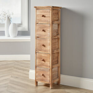 Natural Wooden 5 Drawer Chest Tallboy Storage Unit Bedroom Organiser Storage