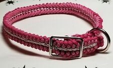 Dog Collar Large Adjustable Paracord Fuchsia Diamonds with White Center Stitch