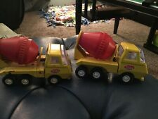 Vintage Tonka Mini Cement Mixers Trucks Pressed Steel 1970's Yellow Construction