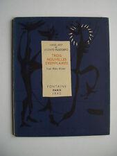 """Hans ARP / Vicente HUIDOBRO """" Trois nouvelles exemplaires """", E.O. NUM. 1946"""