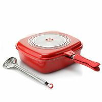 Cook's Companion Cast Aluminum Flip Pan w/ Basting Lid, Tongs & Rack Red