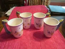 SPODE Four Imperial Garden Floral/Butterfly Design w/Zucchini Handle Coffee Mugs