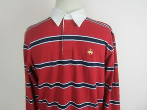 Youth Boys XL BROOKS BROTHERS Red Striped Polo Shirt Long Sleeve with Logo NWT