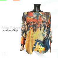 Strick Pullover *Made in Italy* 'Paris' Muster Print Langarm Pulli Gr: 38-46