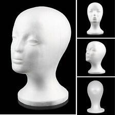 White Female Mannequin Styrofoam Foam Head Model Wig Glasses Display Stand Us